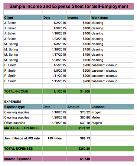 January Income/Expense Statement for a cleaning business