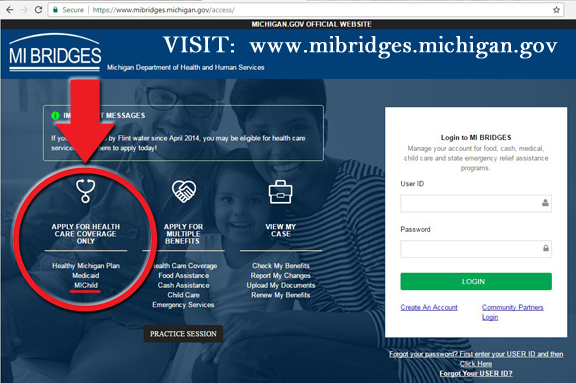 Visit  michigan.gov/mibridges , and apply for health coverage.