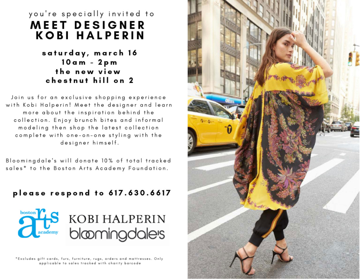 Boston Arts Academy presents an exclusive meet & greet with the amazing Kobi Halperin #bostonfashion #chestnuthill #bostonartsacademy #bloomingdalesboston #tailcoattimes