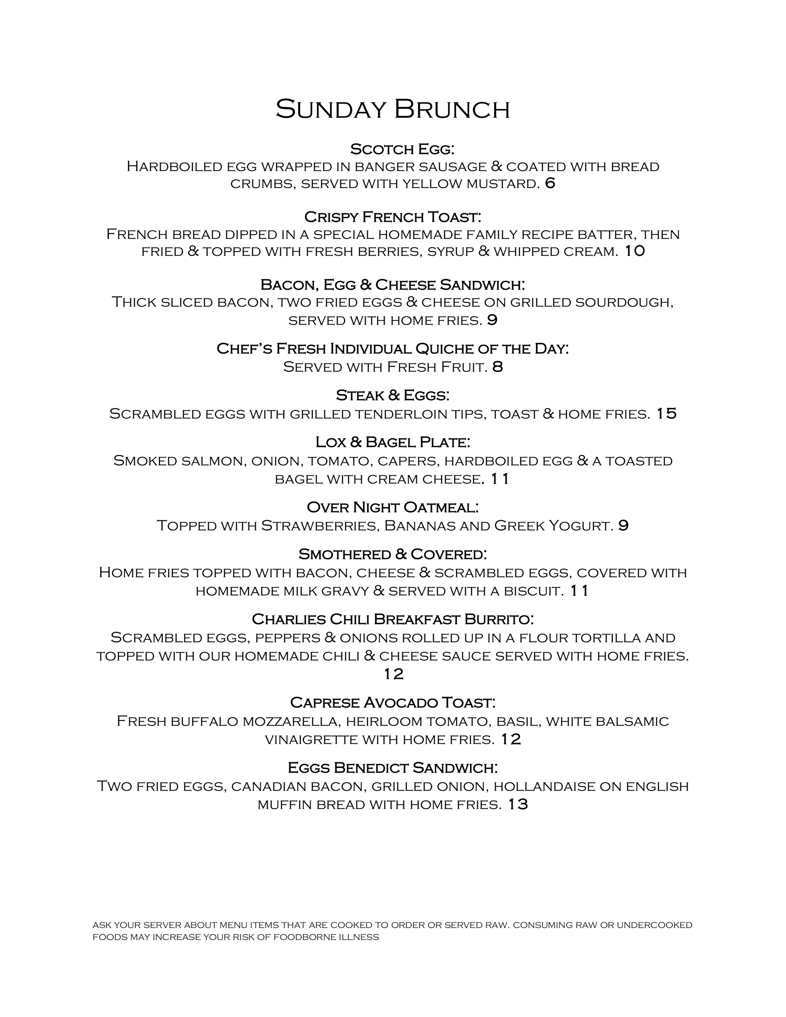 2FOG's Pub Sunday Brunch Menu - Page 1