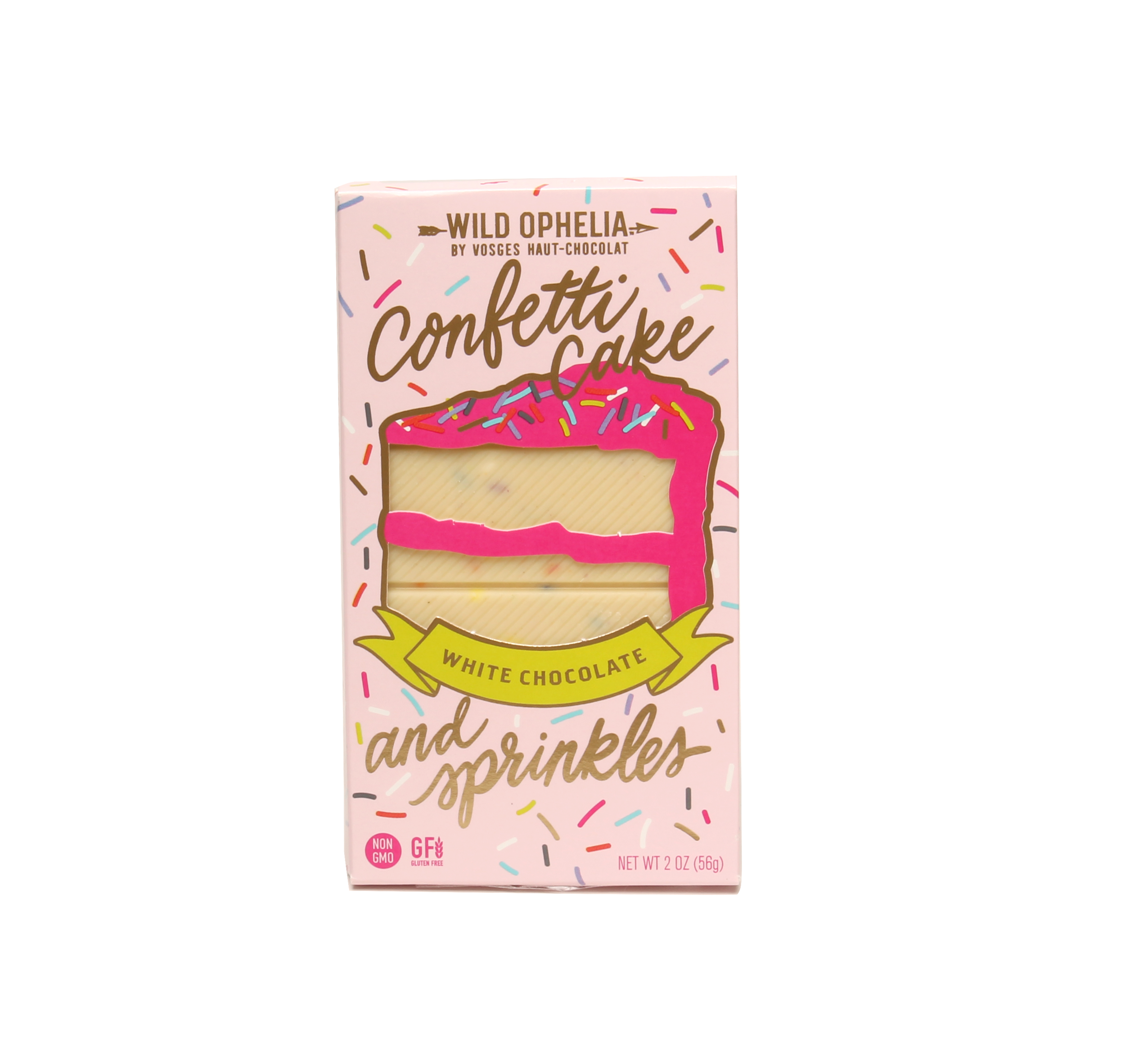 CONFETTI CAKE & SPRINKLES    This badass bar is made with passion and purpose and magical, all natural sprinkles, white chocolate and bits of gluten-free vanilla birthday cake.