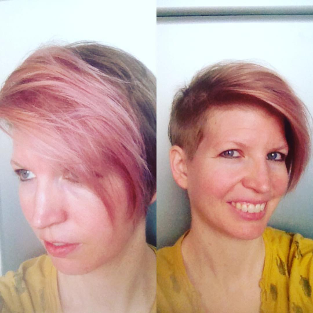 Speaking of experimentation. One of my favorite ways to experiment is with my hair. My latest experiment...pink hair and a shaved side. Because...why not?!