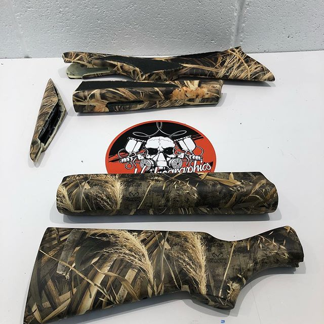 Max4 and max5 realtree camo on these shotgun stocks and fore ends, finished with rubberised soft touch lacquer