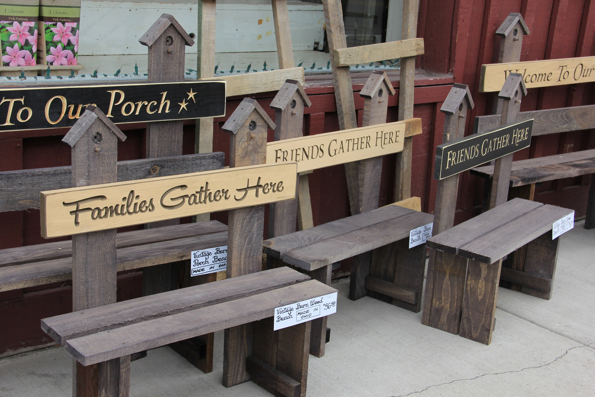 Barn wood benches
