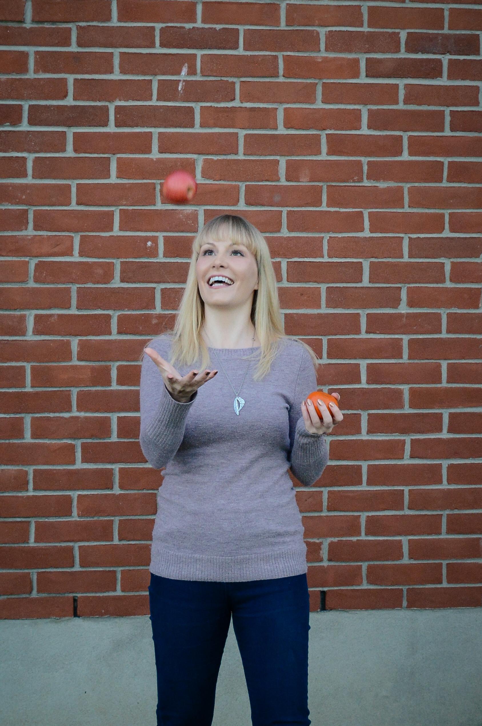 Jodi Robinson, Registered Dietitian, CDE, PTS, RYT  Founder of Craving Health and aspiring juggler