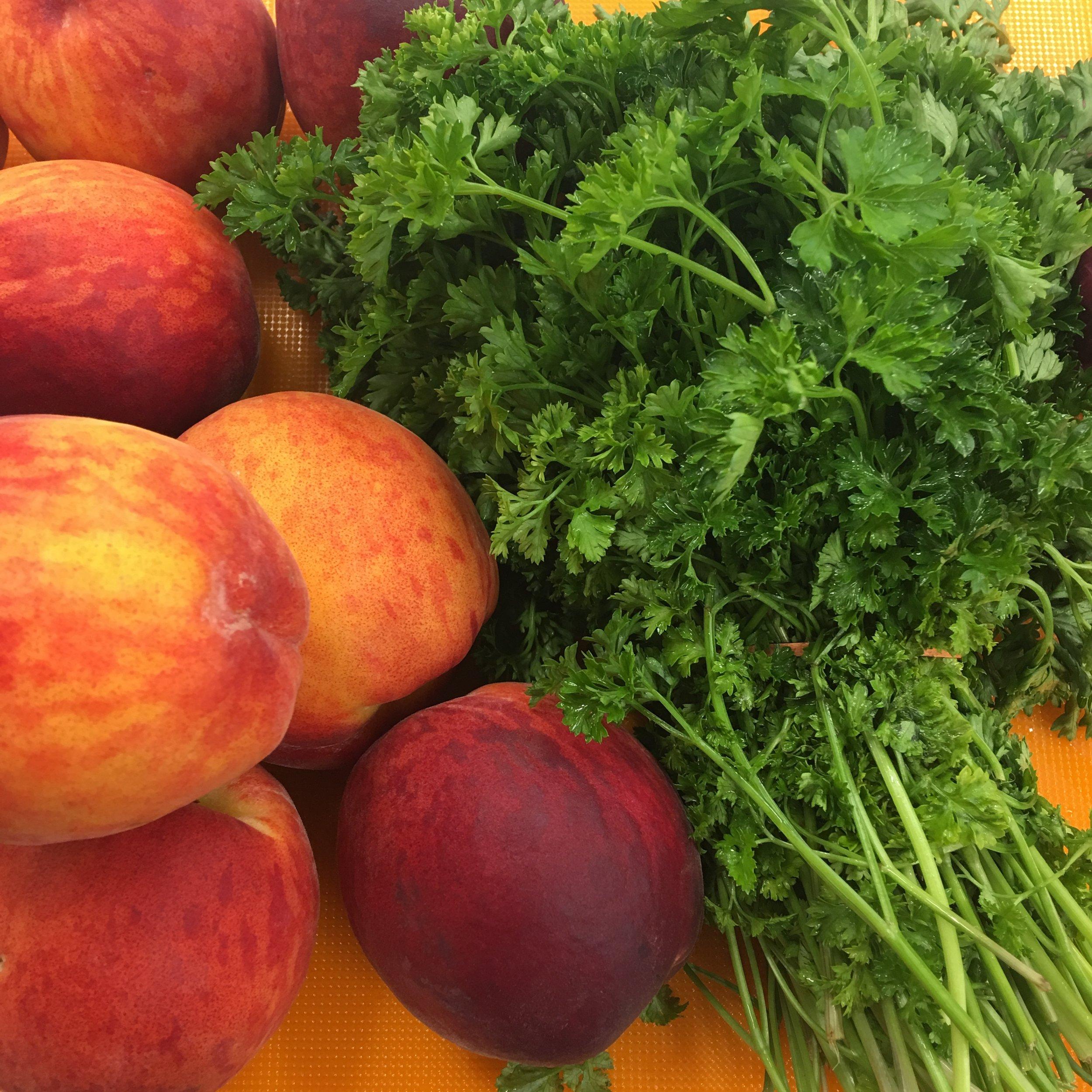 Peaches and parsley pic for peach salsa.jpg