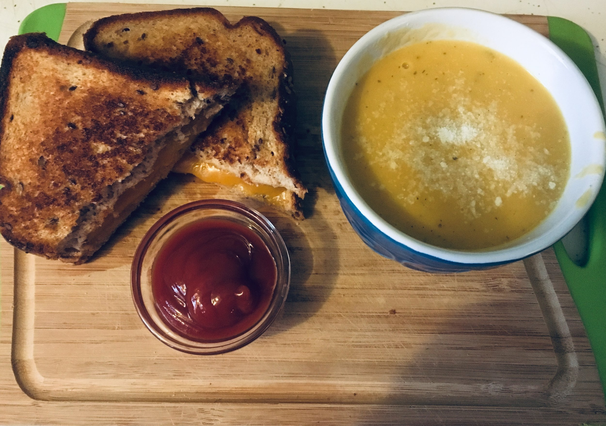 Nothing beats the classic grilled cheese sandwich and tomato (or squash) soup. The fact that it takes less than 15-minutes to whip up is a bonus. Use whole grain bread, your favourite cheese, and a lower sodium tomato soup  .
