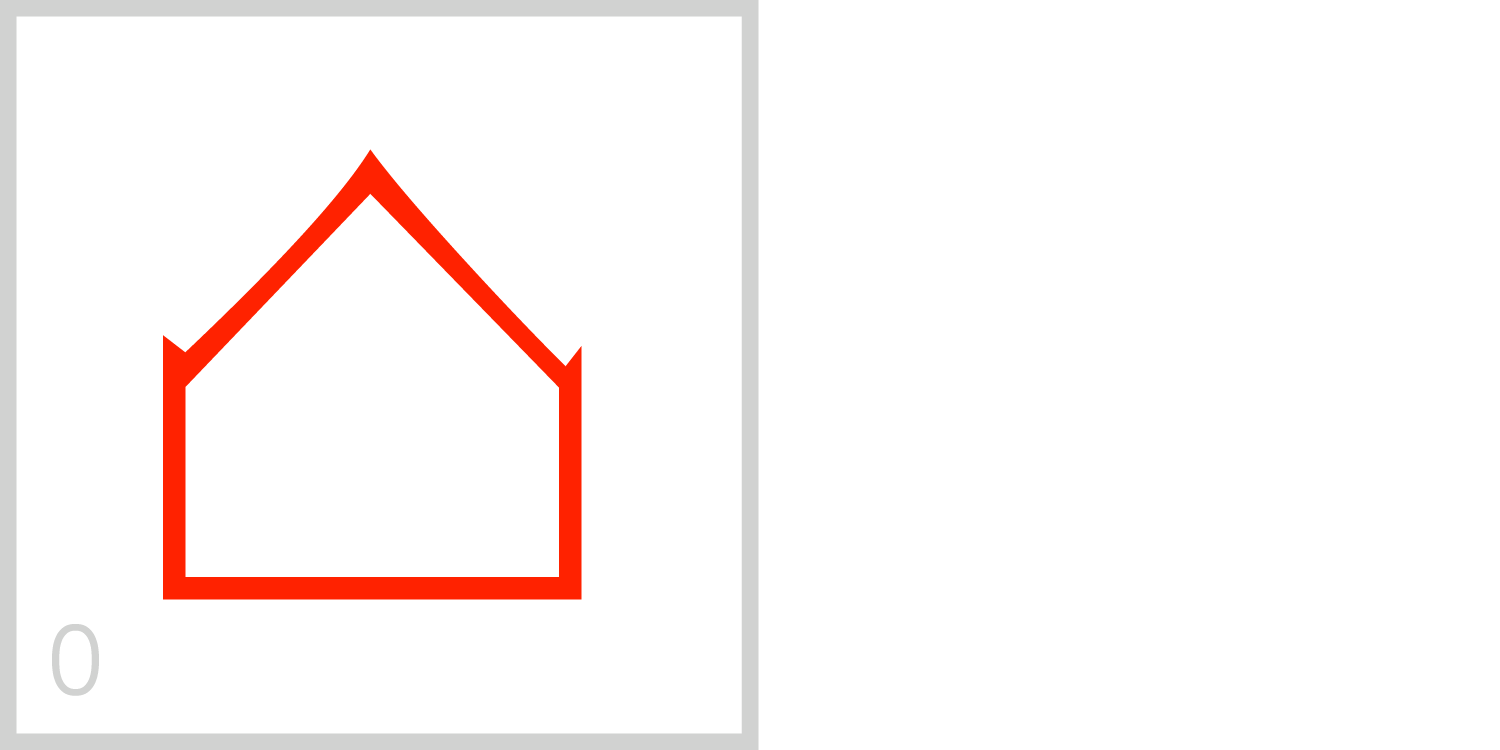 0  Zero is an empty house shaped frame.