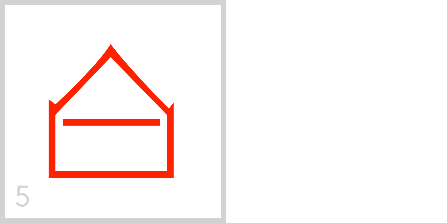 5   The number five has a horizontal line extending from the left side of the frame to the right side. A number five can be traced in this symbol and the line is positioned halfway between the top and bottom of the frame, as five is halfway to ten.