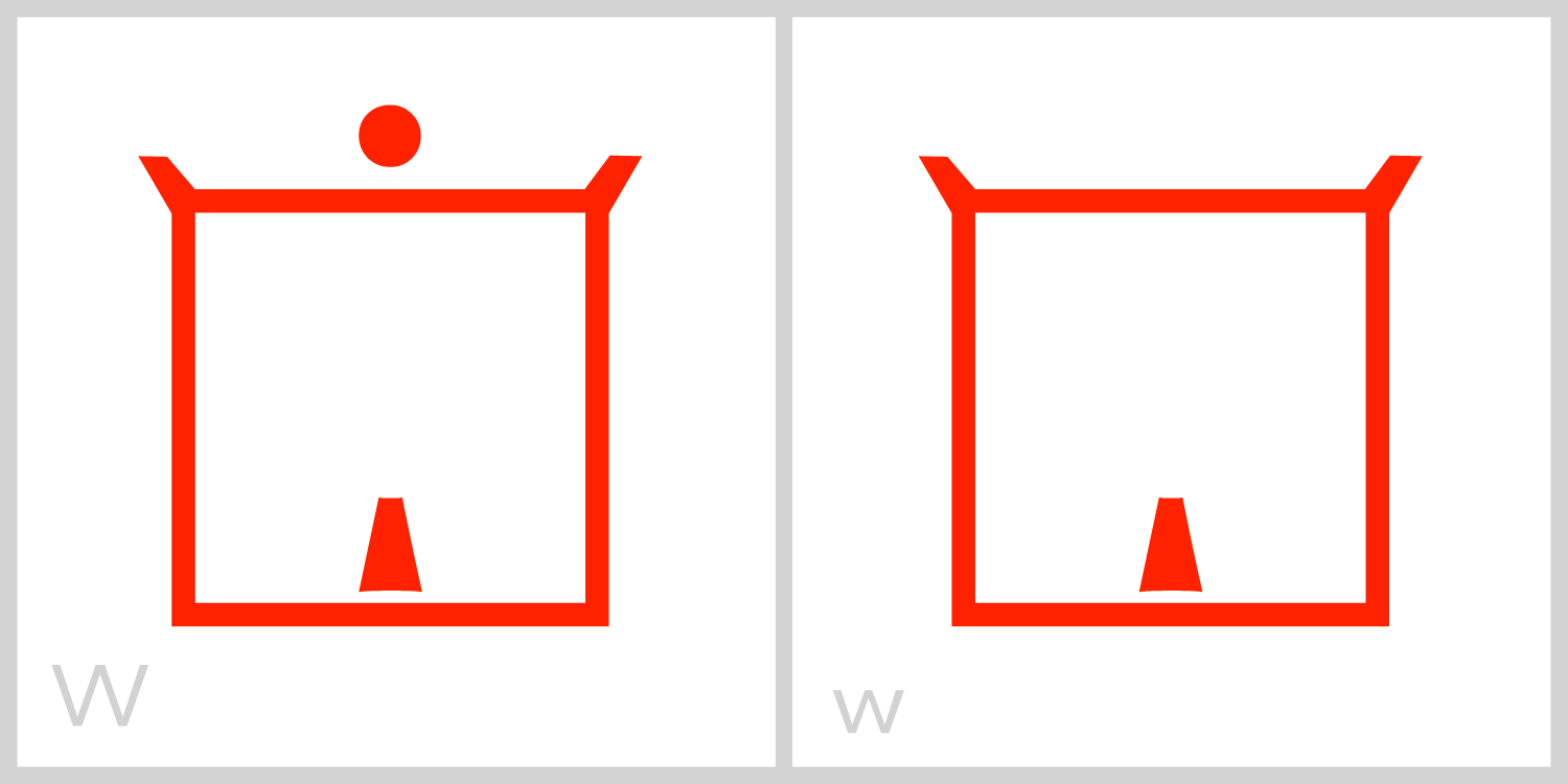 Ww  W has a square frame and has a small barb, or tail, inside the middle of the bottom part of the frame. You can trace the Roman capital letter W in this symbol by tracing from the top left corner to the bottom of the frame, across to the barb, up and down the barb, across to the right corner, and up the right side of the frame to the top. The letter W is similar to the letters M, G and J; they each have a barb on the inside of their square frame.