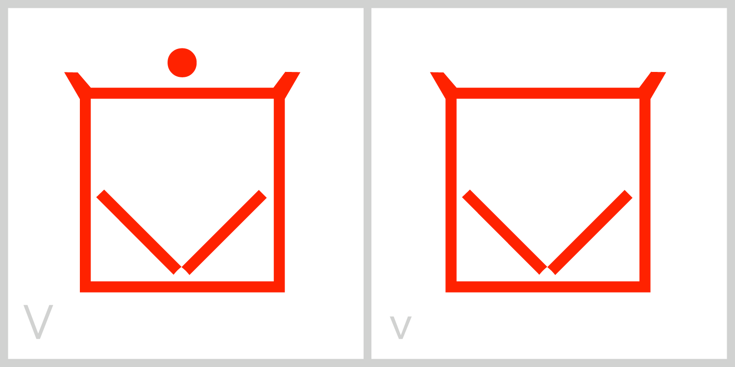 Vv  V has a square frame in which two diagonal lines extend from the middle of the bottom of its frame to the middle of the right and left sides of its frame. You can trace the Roman capital letter V in this symbol by using the diagonal lines.