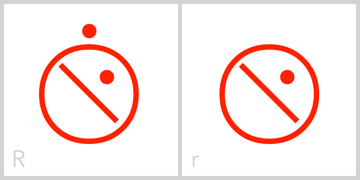 Rr  R has a circular frame. Its major feature is taken from the bottom part of the Roman capital letter R, and is a diagonal line extending from the upper left portion to the lower right portion of its frame. It also has a small dot in the upper right portion of its interior.