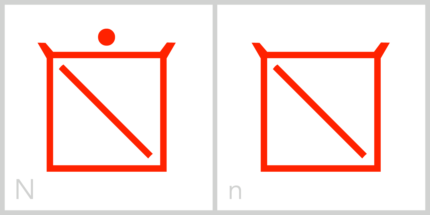 Nn  N has a square frame with a diagonal line extending from the upper left corner of its frame to the bottom right corner of its frame. You can trace the Roman capital letter N in this symbol by incorporating the left and right sides of the frame with the inside diagonal line.