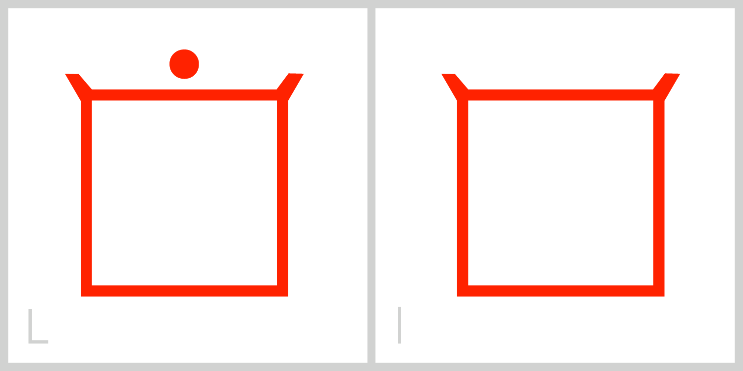 Ll  L has a square frame that is empty. You can trace the Roman capital letter L using the left vertical side and the bottom horizontal sideof the frame.