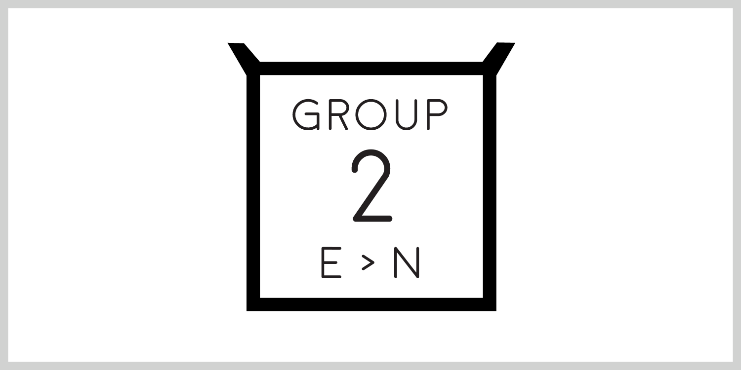 Group 2  The second group of letters, E through N, have square frames. They are the first group of letters with square frames. The letters T though Z also have square frames.