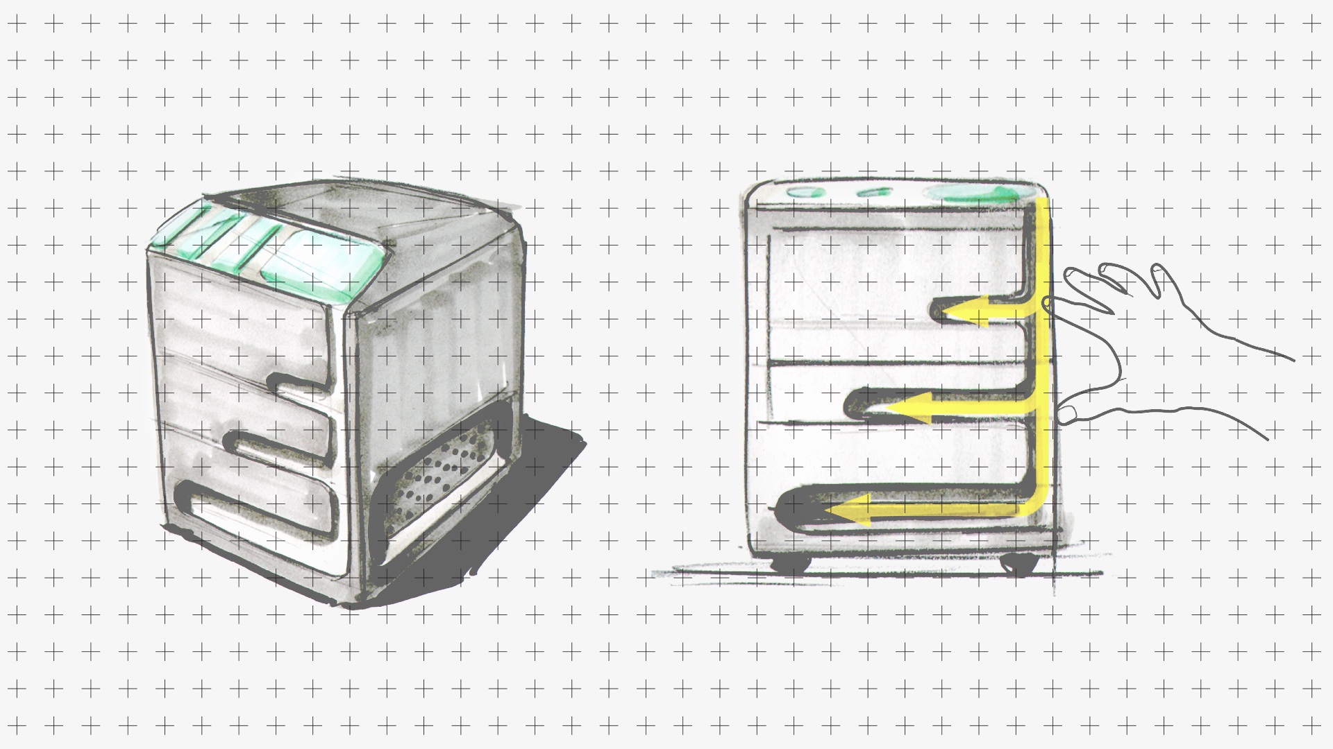 This is a concept sketch of the Elia touch printer for illustration purposes only.