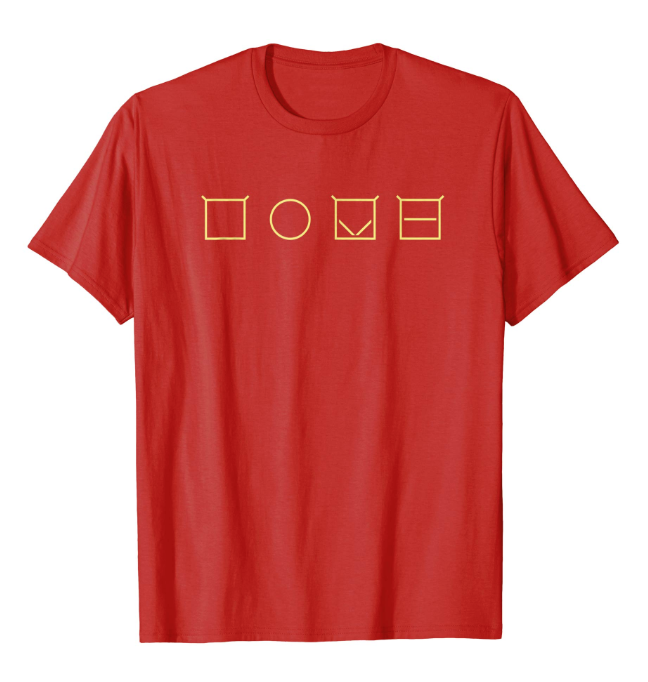 "A red shirt with ""LOVE"" in ELIA Frames."