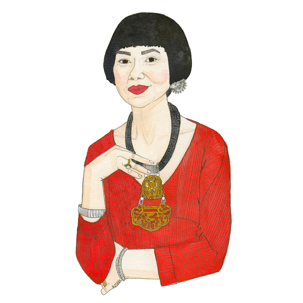 Amy Tan , 9x12 inches, gouache, flashe + graphite on paper, 2014