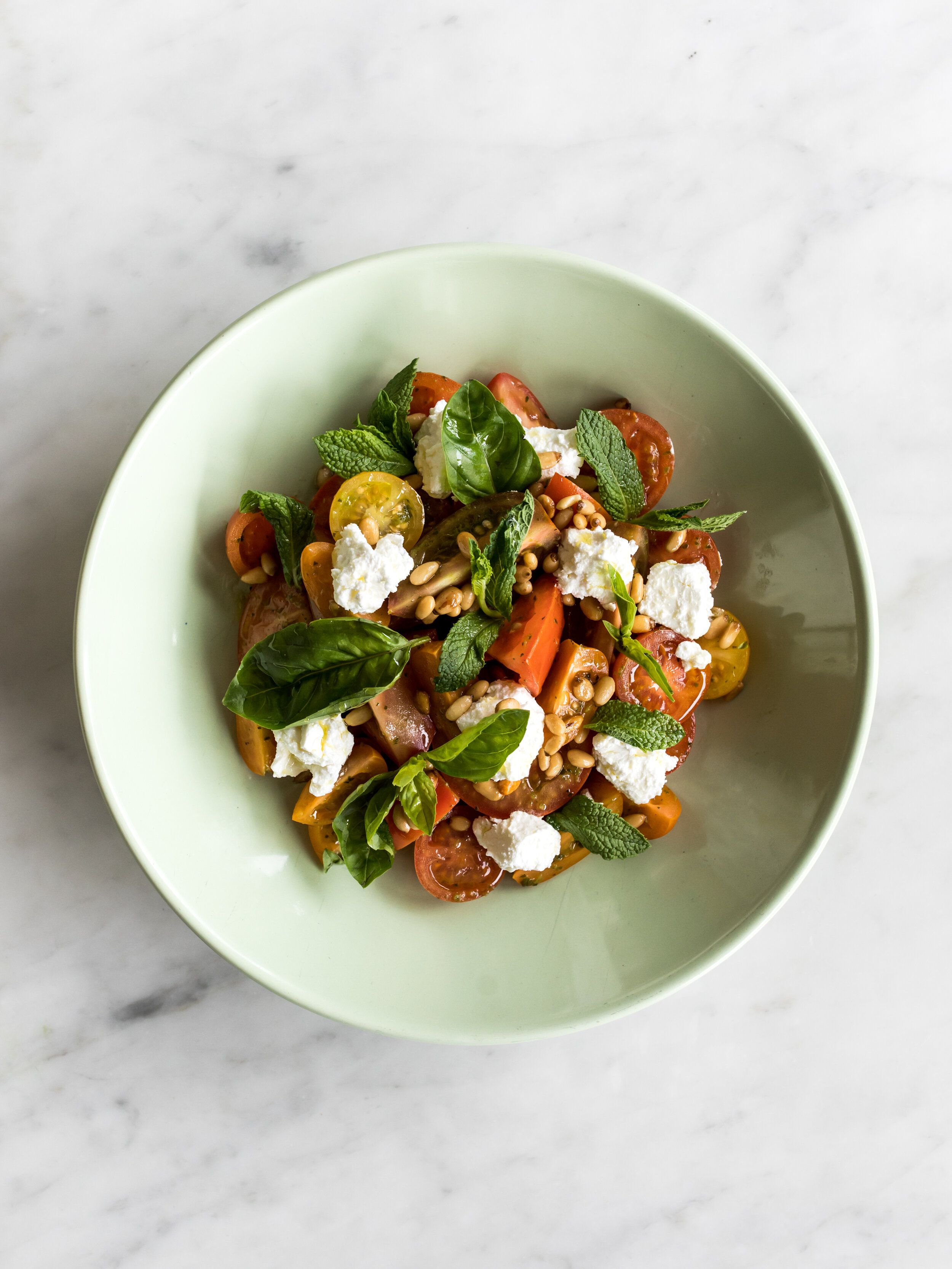 On the menu at The Boathouse Hotel Patonga: Tomato salad with feta, mint + pine nuts.