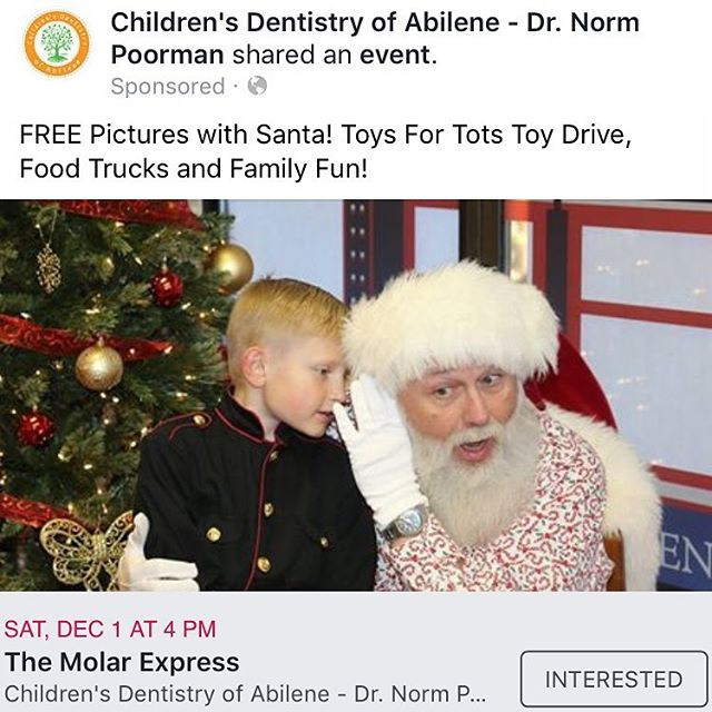 Mark your calendars for FREE pictures with Santa and our Toys For Tots Drive! #TheMolarExpress #ChildrensDentistryOfAbilene #ToysForTots #Santa