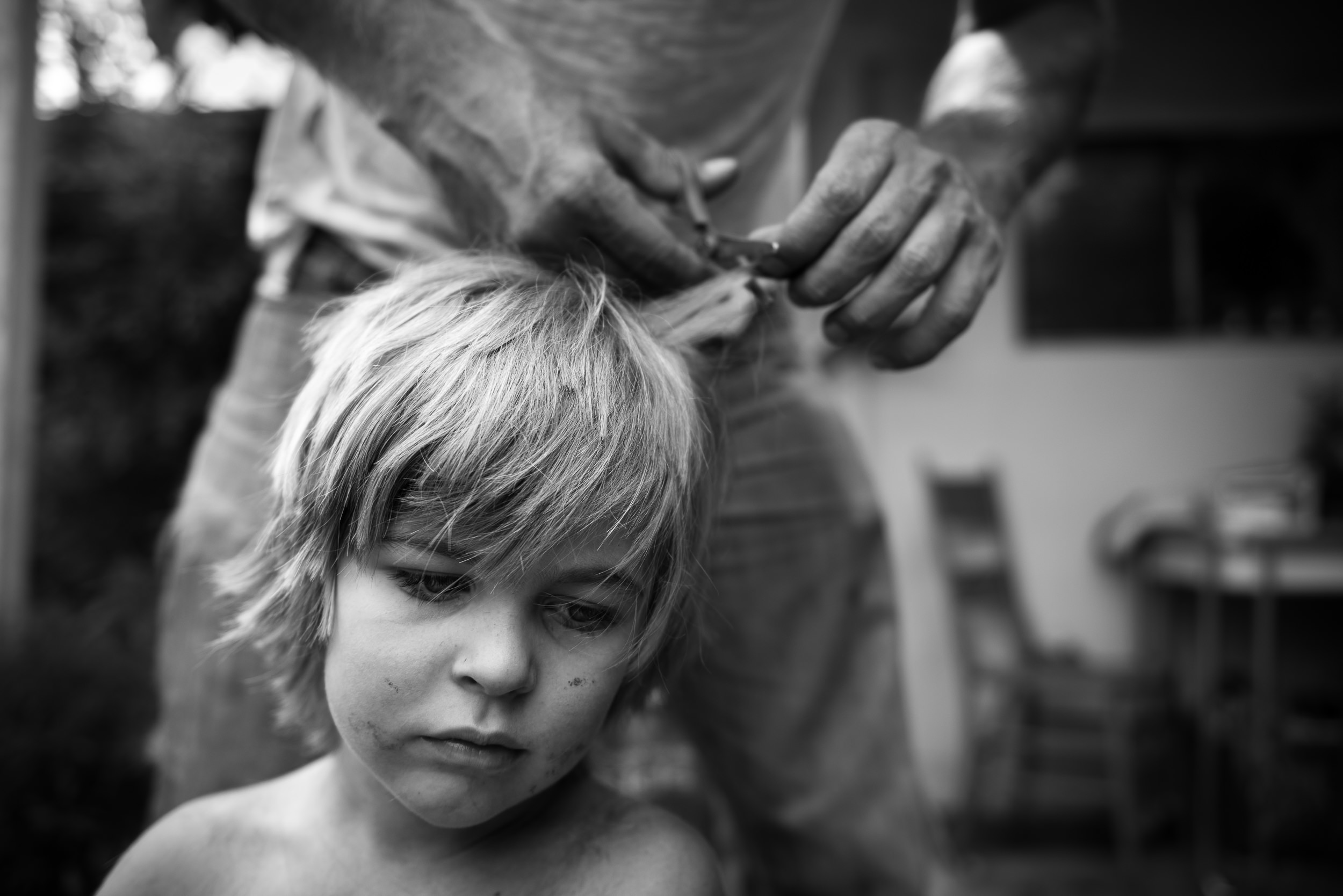 Molly Rees Photo - Black and White Documentary Childhood Photography - boy getting haircut outside by M. Menschel