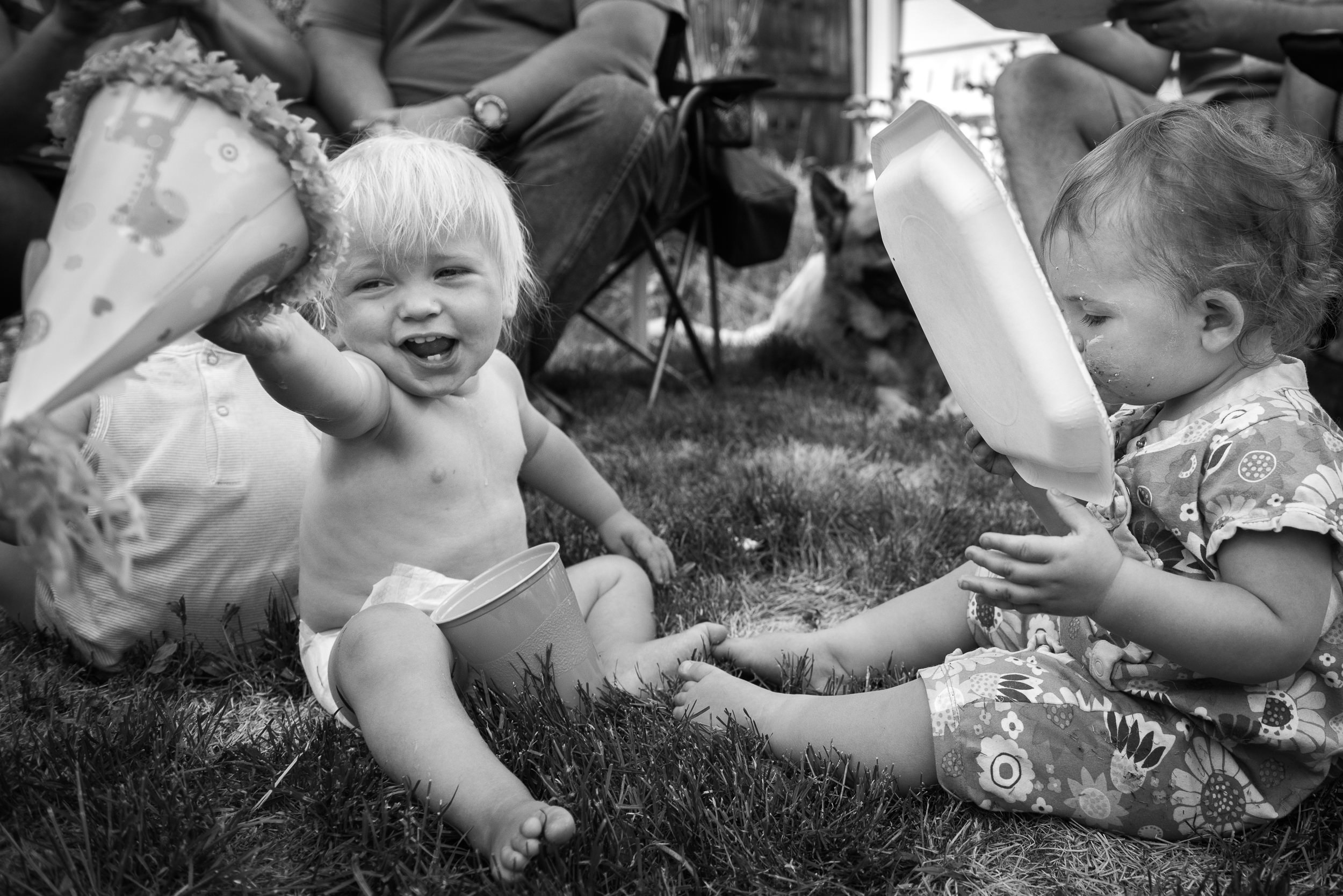 Molly Rees Photo - Black and White Documentary Family Photography in Denver, Colorado - baby first birthday party hat by M. Menschel