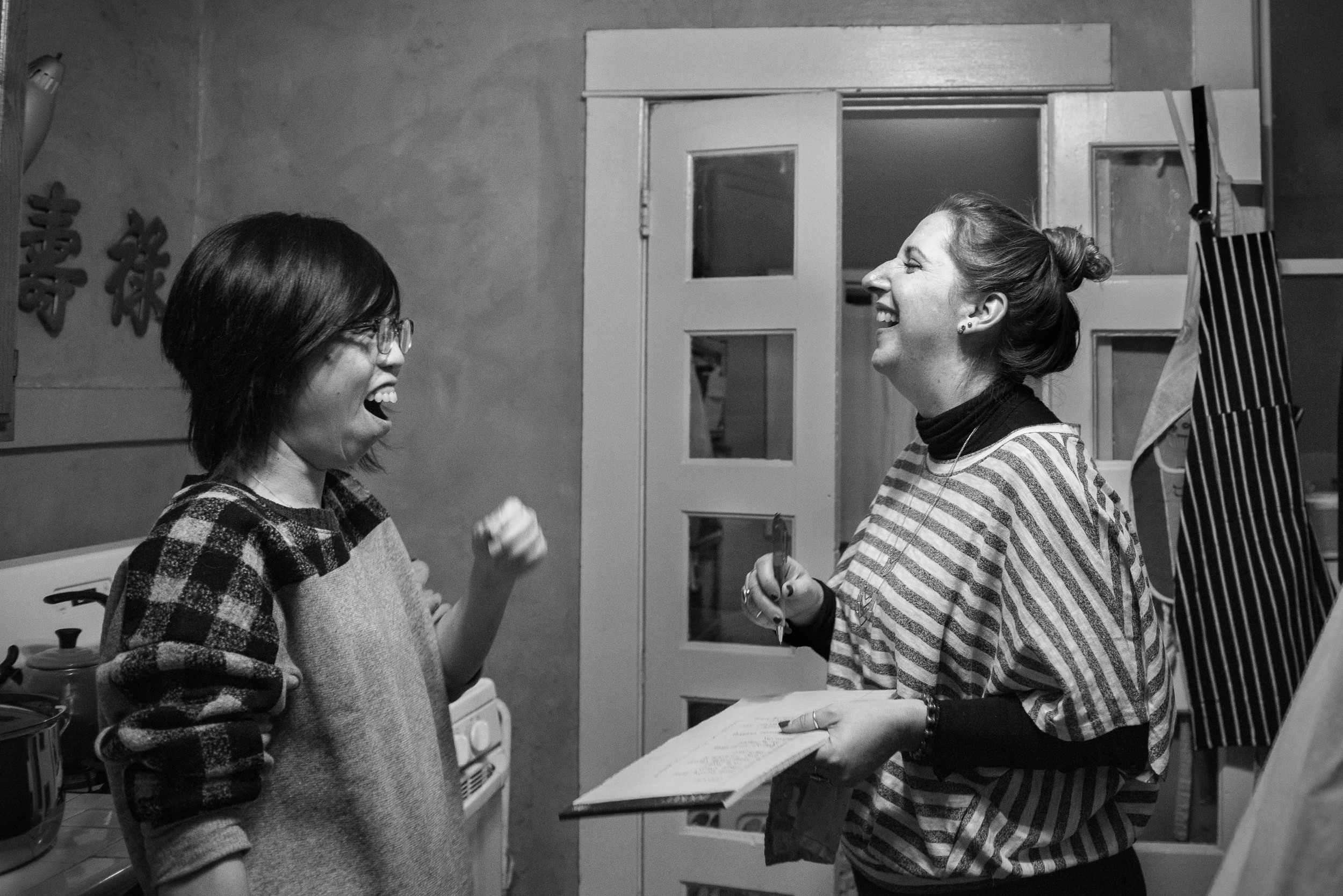 Molly Rees Photo - Black and White Documentary Family Photography in Denver, Colorado - friends laughing by M. Menschel