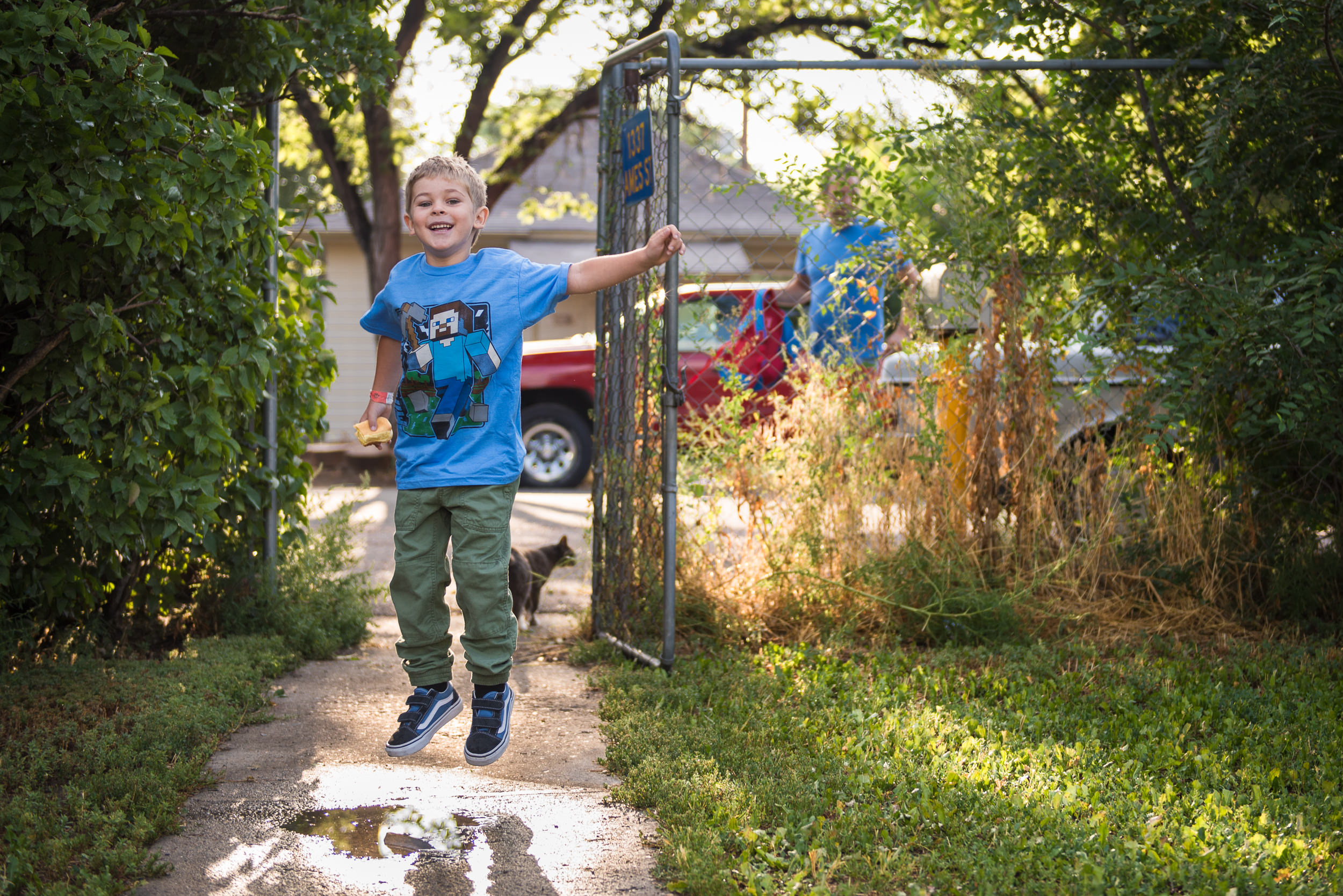Blog - The Pen & Camera - Gratitude Journal, Inspirational, Motherhood, Writing, Denver, Colorado -  boy jumping on first day of kindergarten