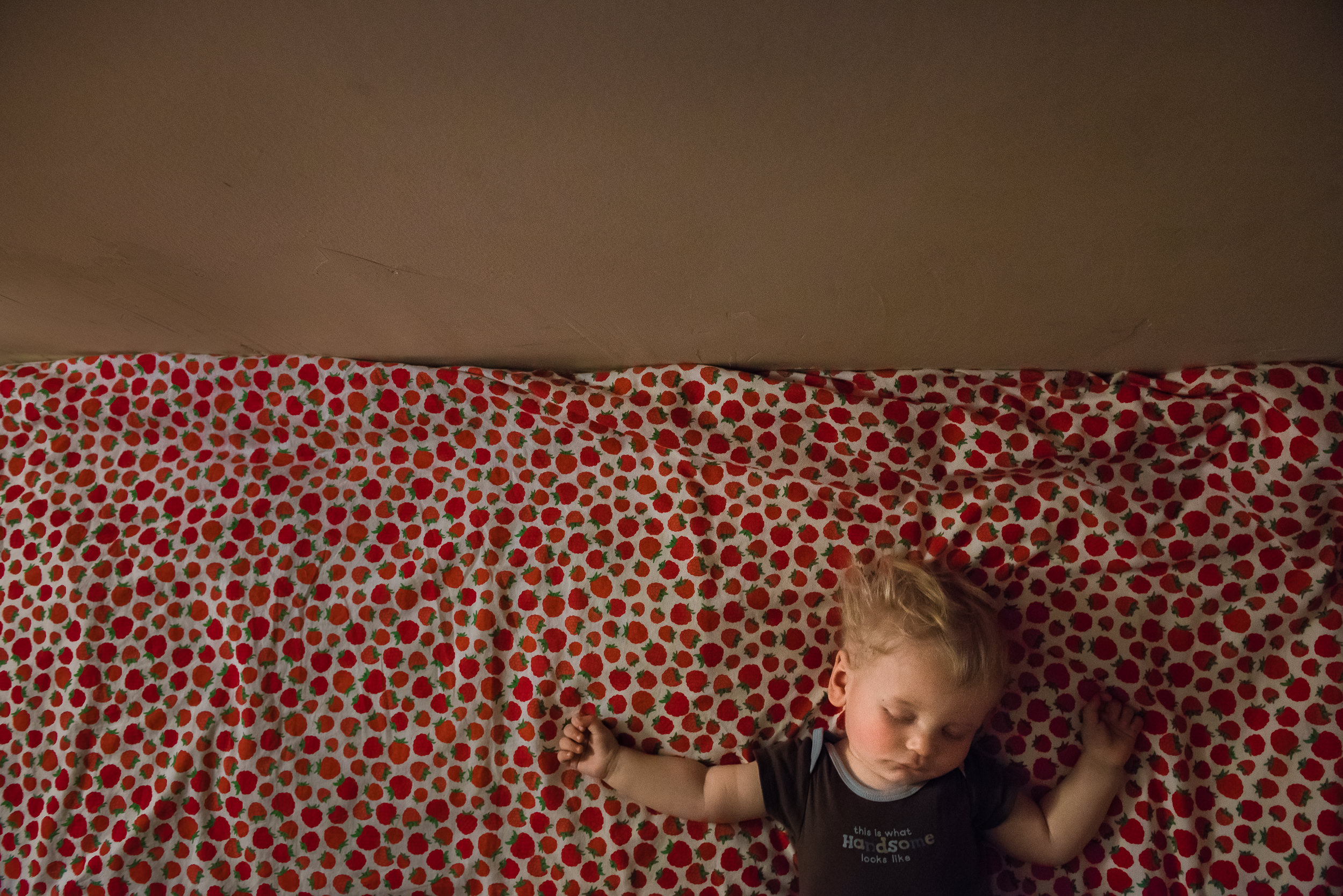Blog - The Pen & Camera - Gratitude Journal, Inspirational, Friendship, Writing, Motherhood, Denver, Colorado - Molly Rees Photo - Documentary Childhood Photography - boy sleeping on raspberry quilt by M. Menschel