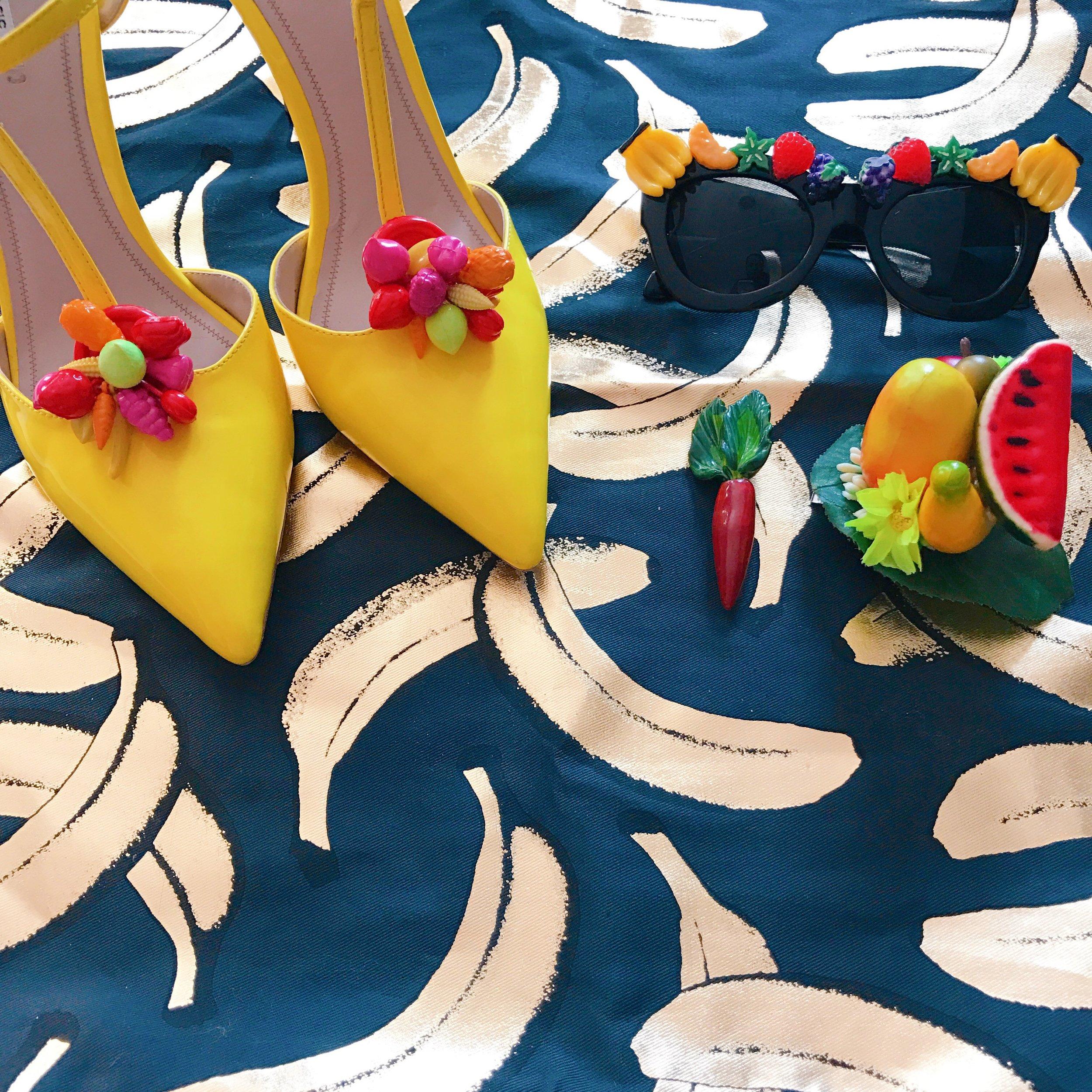 DIY Tutti-Frutti sunnies,  DIY fruit heels (coming soon), tropical fruit pinup hair accessory, Mom's vintage carrot brooch