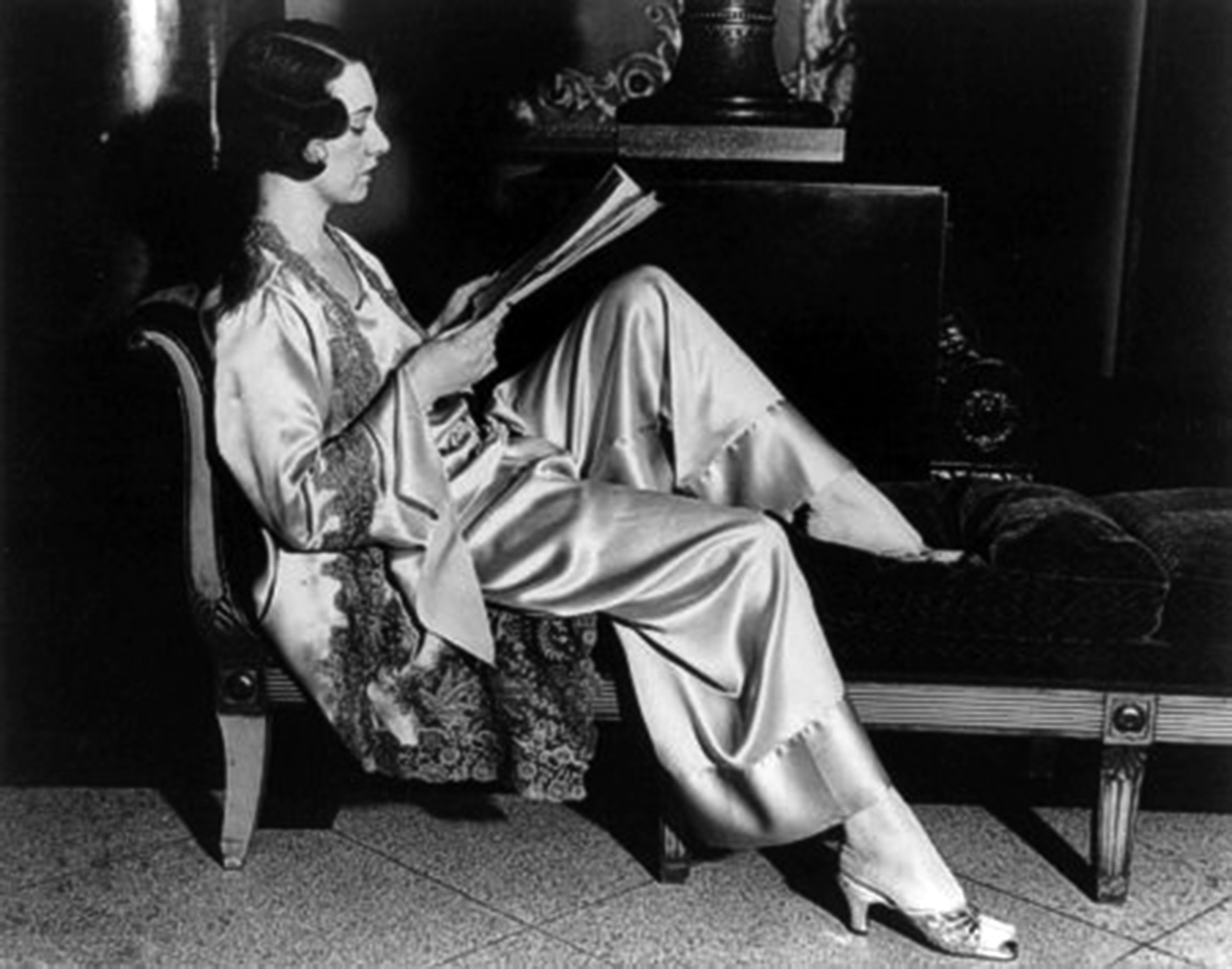 Model wearing lounging pajamas  1920s