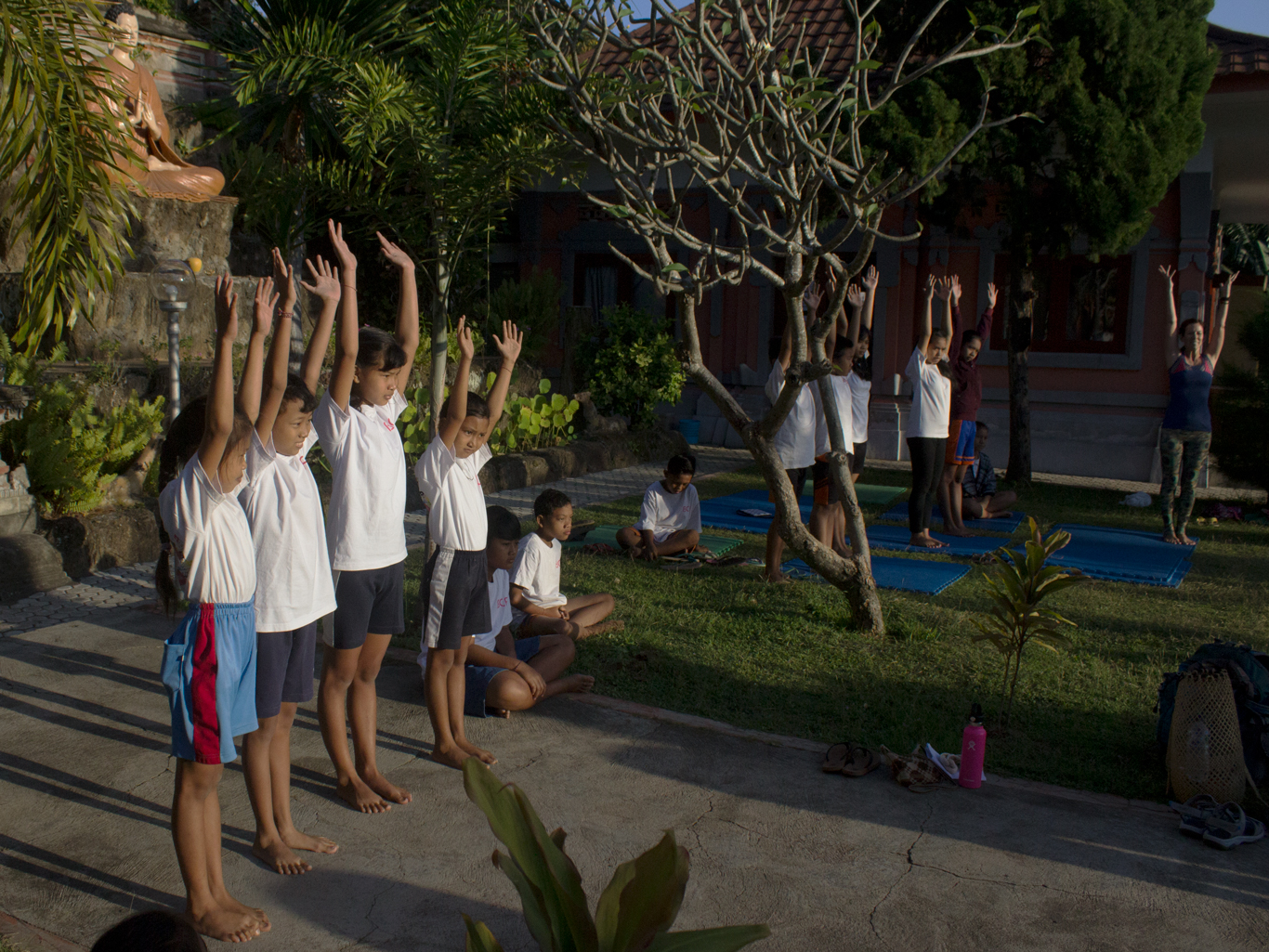 Yogi says arms reach up to the sky...