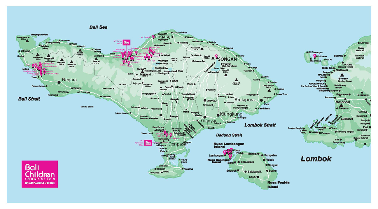 Map of Bali, the pink marks indicate where BCF is working.
