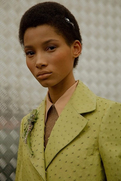 Lineisy Montero (Next) backstage Prada AW15  Photography Virginia Arcaro