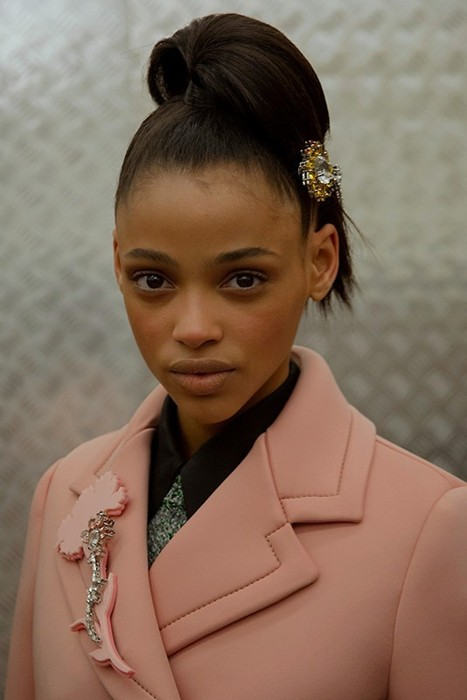 Aya Jones (The Lions) backstage at Prada AW15  Photography Virginia Arcaro