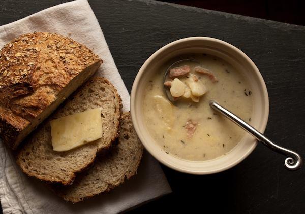 POTATO, HAM, & GRUYERE.  Tastes like scalloped potatoes.  A Boyne City favorite!