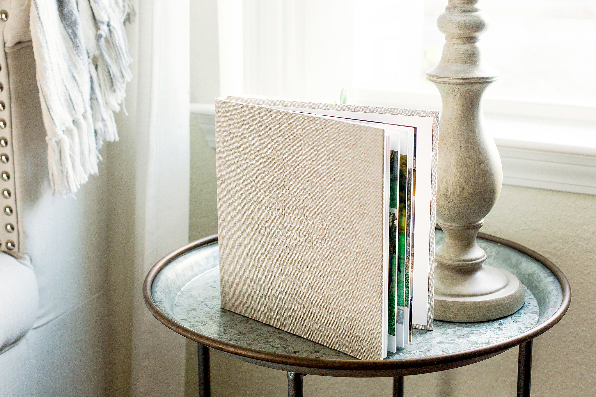 "10x10 Traditional Album with linen cover option in color ""sand""."