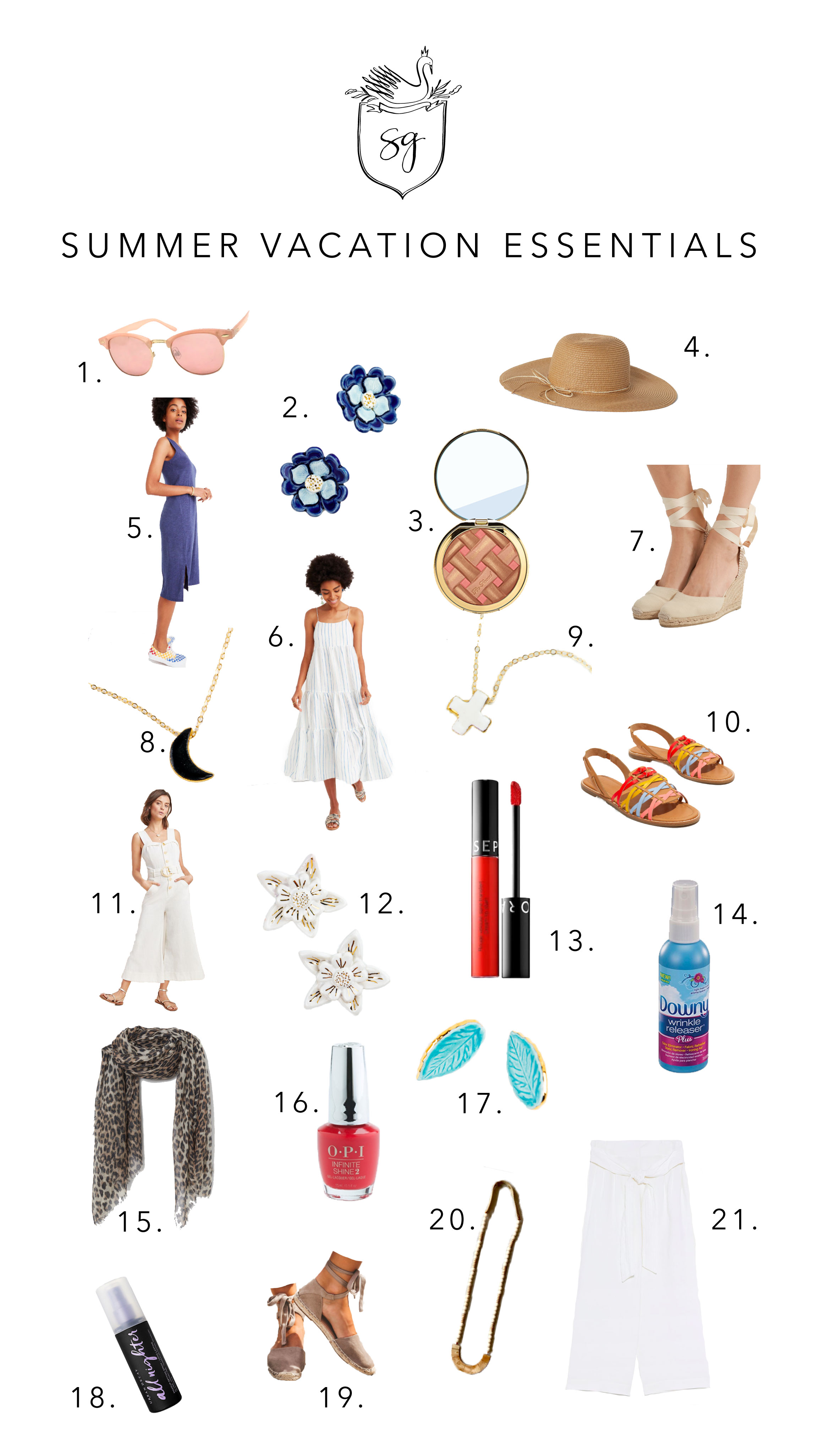 1.  Target Sunglasses  2.  SGP Flower Earrings in Blue  3.  Too Faced Sweet Pie Bronzer & Blush in One  4.  H&M Hat  5.  Madewell Shirt Dress  6.  Madewell Cami Dress  7.  Net-A-Porter Espadrille Wedges  8.  SGP Crescent Moon Necklace  9.  SGP Meredith Necklace  10.  Madewell Sandals  11.  Anthropologie Jumpsuit  12.  SGP Flower Earrings in White  13.  Sephora #78 Matte Lip Stain  14.  Downy Wrinkle Release Spray  15.  H&M Leopard Sarong/Scarf  16.  OPI Coca Cola Red Nail Polish  17.  SGP Leaf Studs  18.  Urban Decay All Nighter Make up Setting Spray  19.  Vici Espadrille Flats  20.  Hearne Dry Goods Wood Statement Necklace  21.  Zara White linen paper bag pants with belt