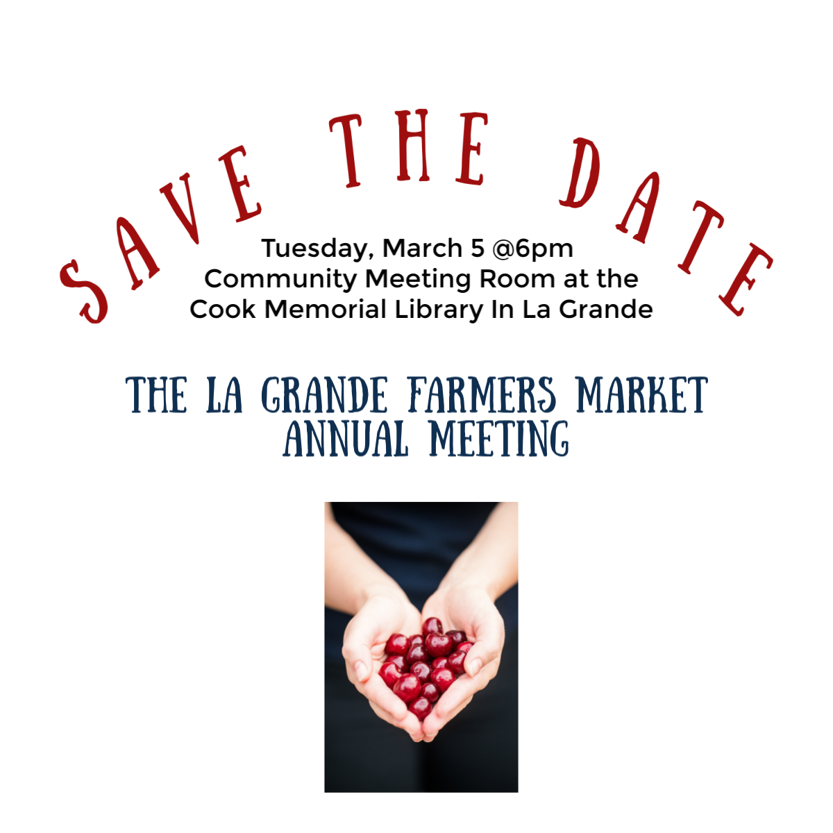 - Tuesday, March 5, 20196:00 PM 8:00 PMCook Memorial Library (map)Are you interested in becoming a vendor for the La Grande Farmers Market? Wanting more information? Curious on what is required to be a vendor? Then this meeting is for you!