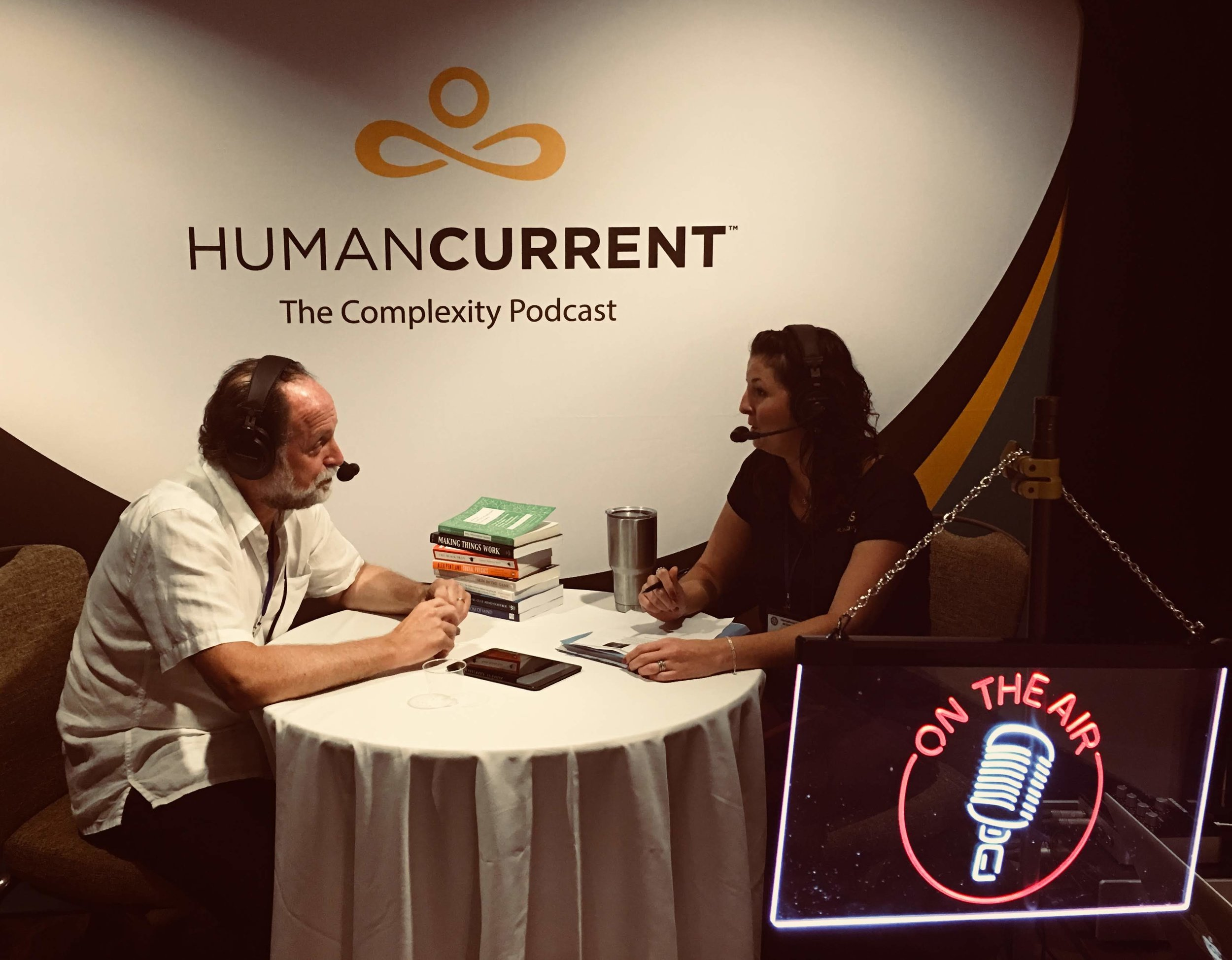 Haley talking with Ricardo Hausmann on day one of ICCS 2018
