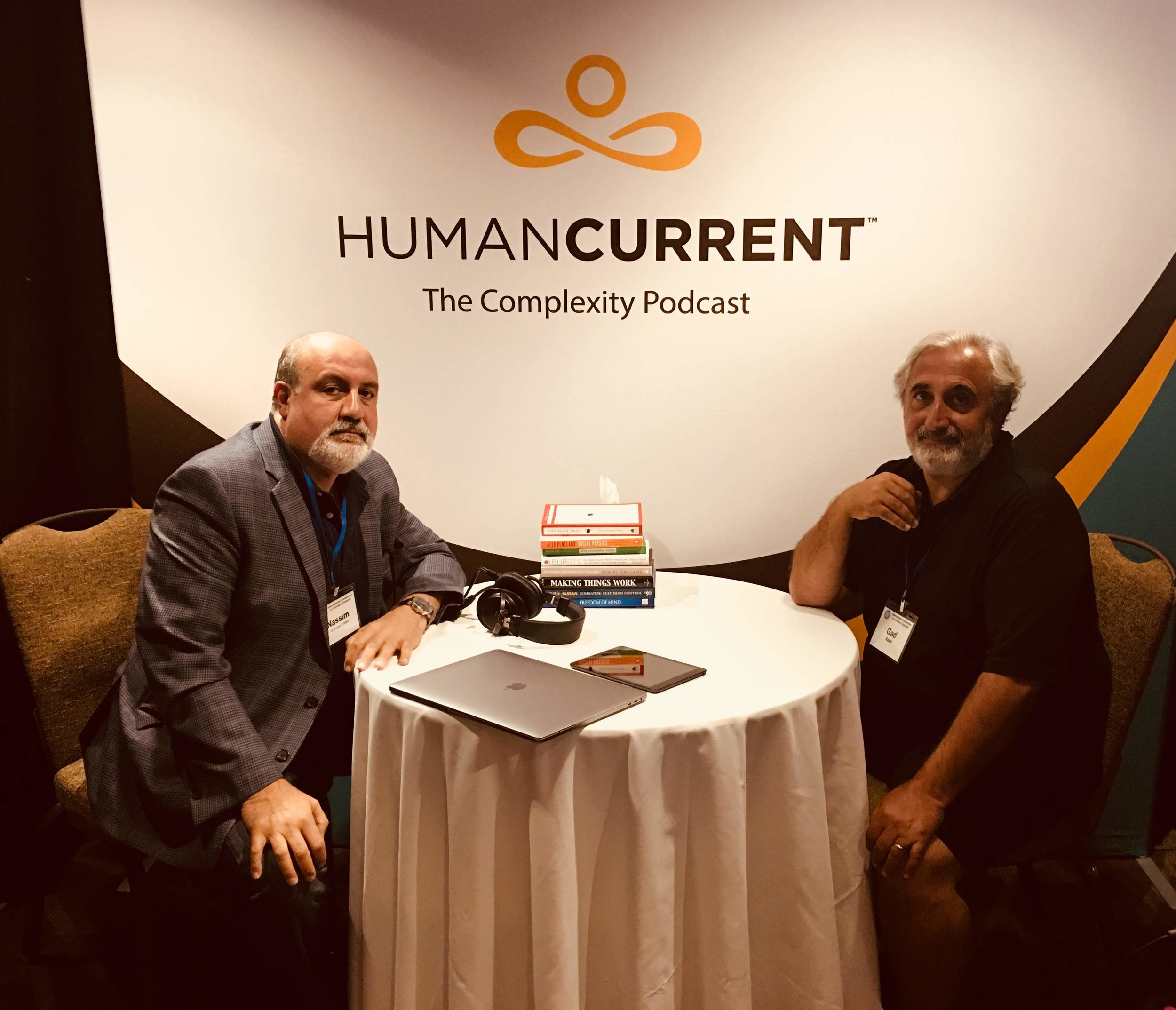 Nassim Nicholas Taleb (left) with Gad Saad (right) at the Ninth International Conference on Complex Systems