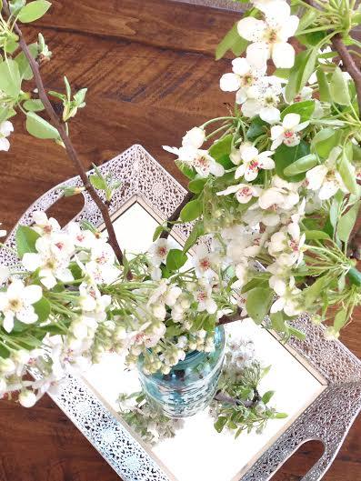 Blossoms in Blue Mason Jar