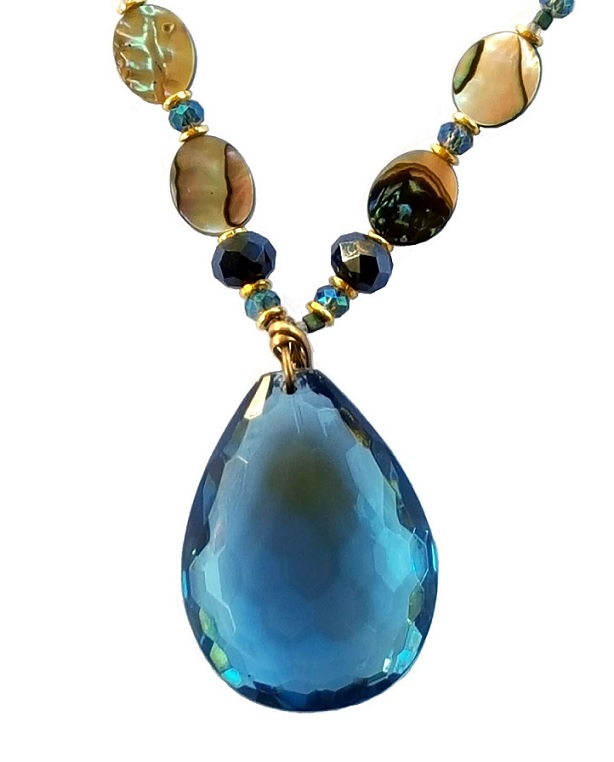 Jules Verne Collection abalone and Montana sapphire statement necklace close up