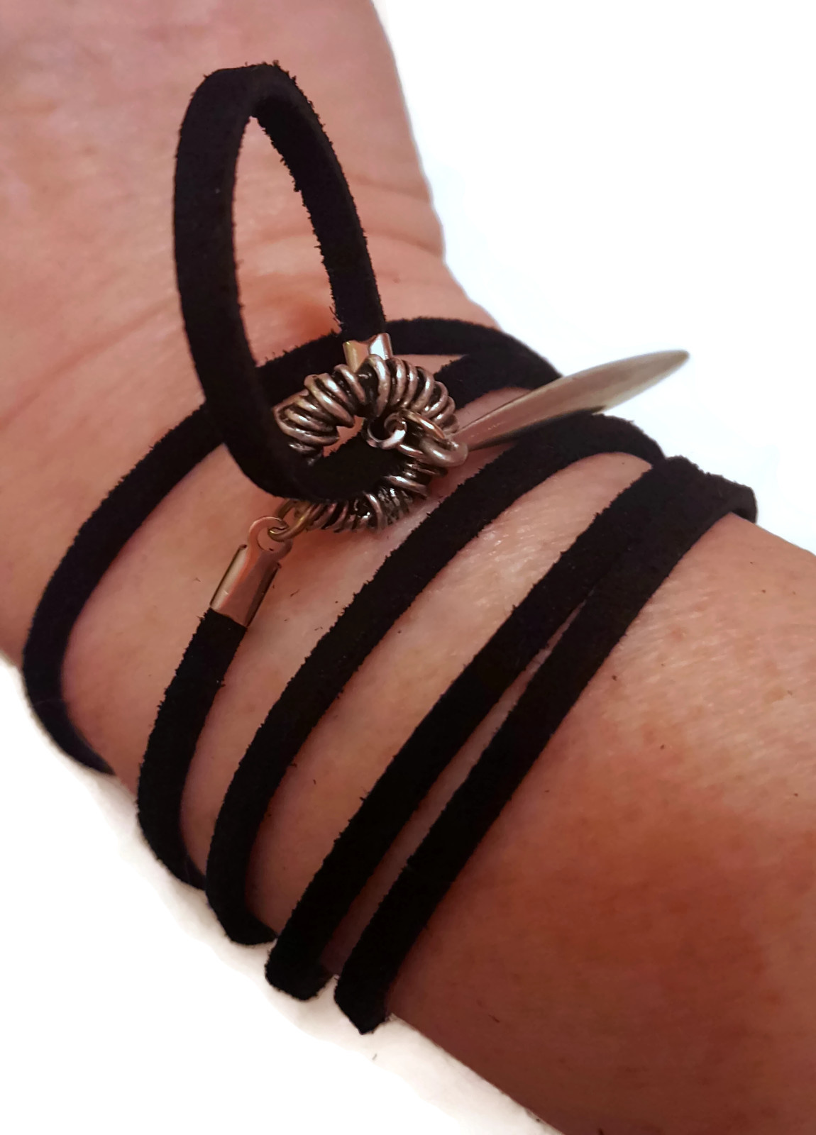 black and silver suede wrap bracelet