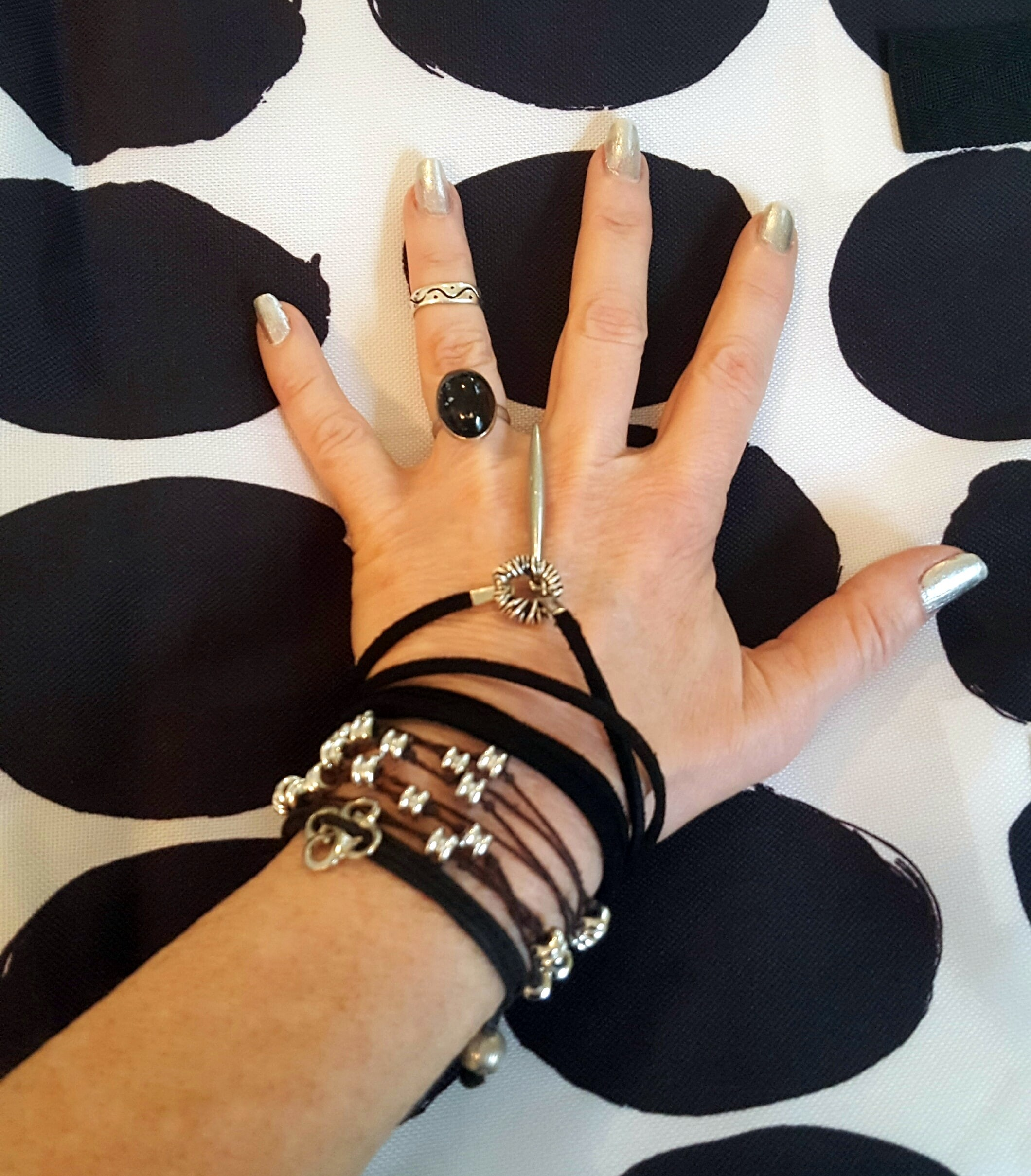 black and silver suede wrap bracelet lariat worn as bracelet.jpg