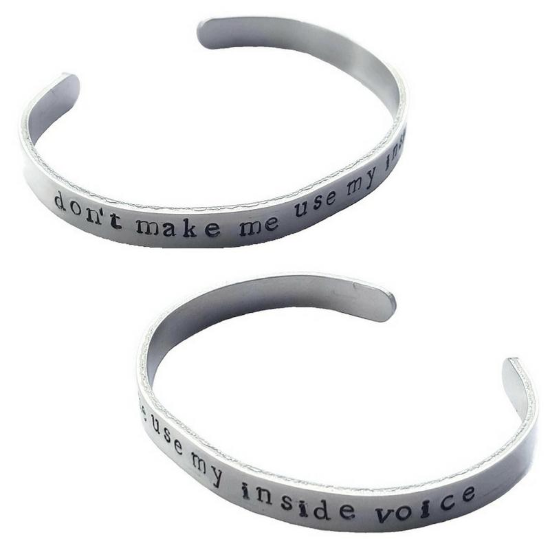 Don't Make Me Use My Inside Voice bracelet, $29.00  cebette.com