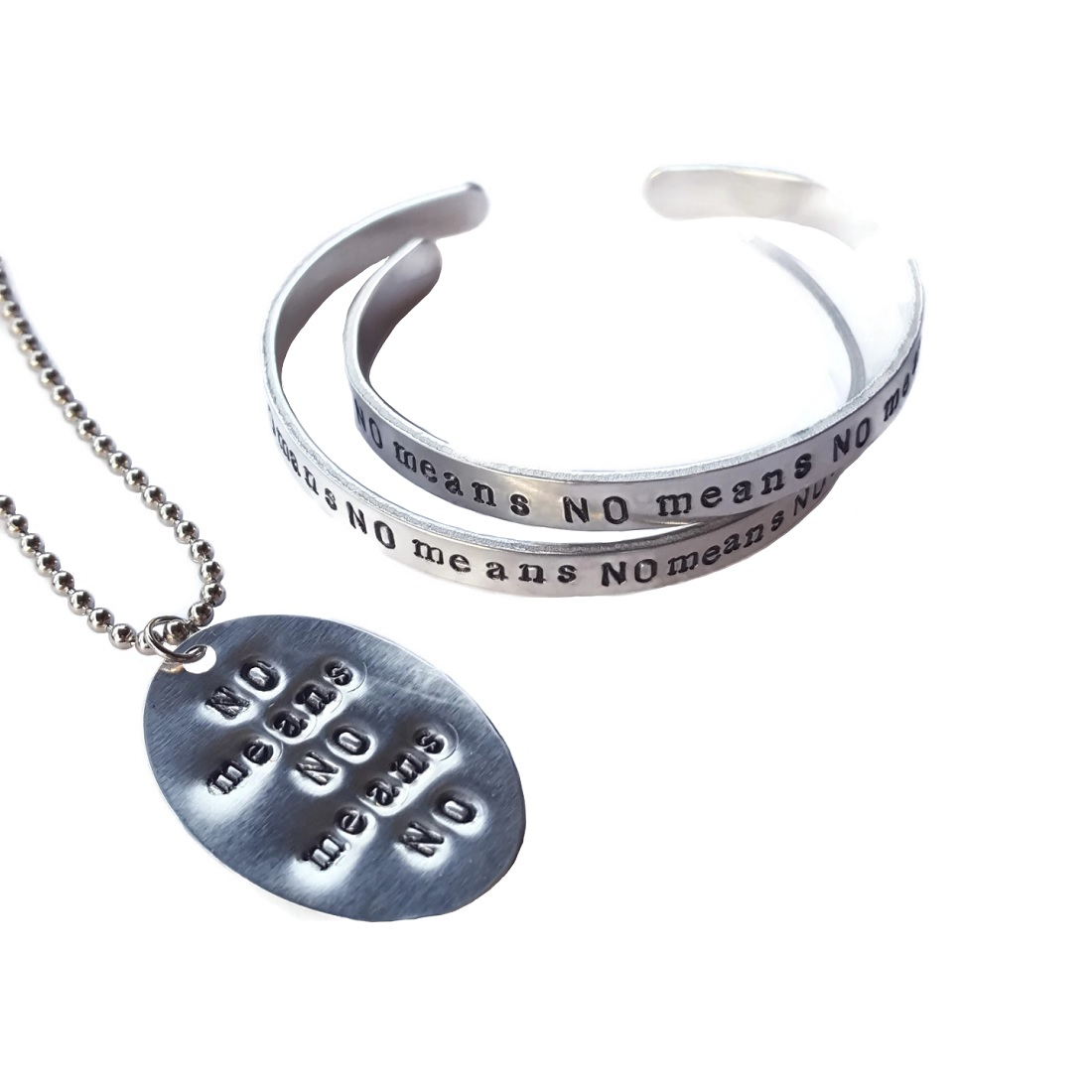 No Means No feminist bracelet and necklace set