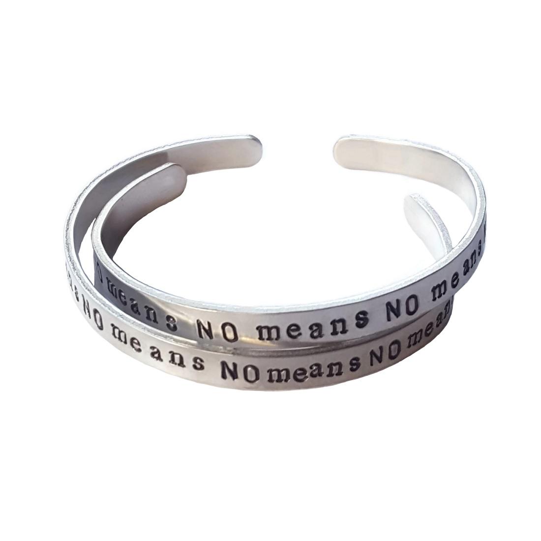 No Means No aluminum bracelet