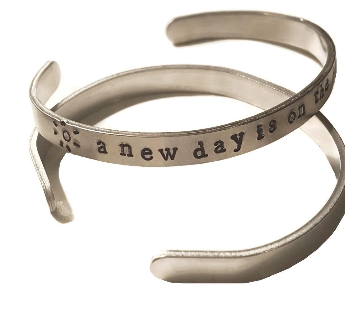 new day bracelet silver stamped