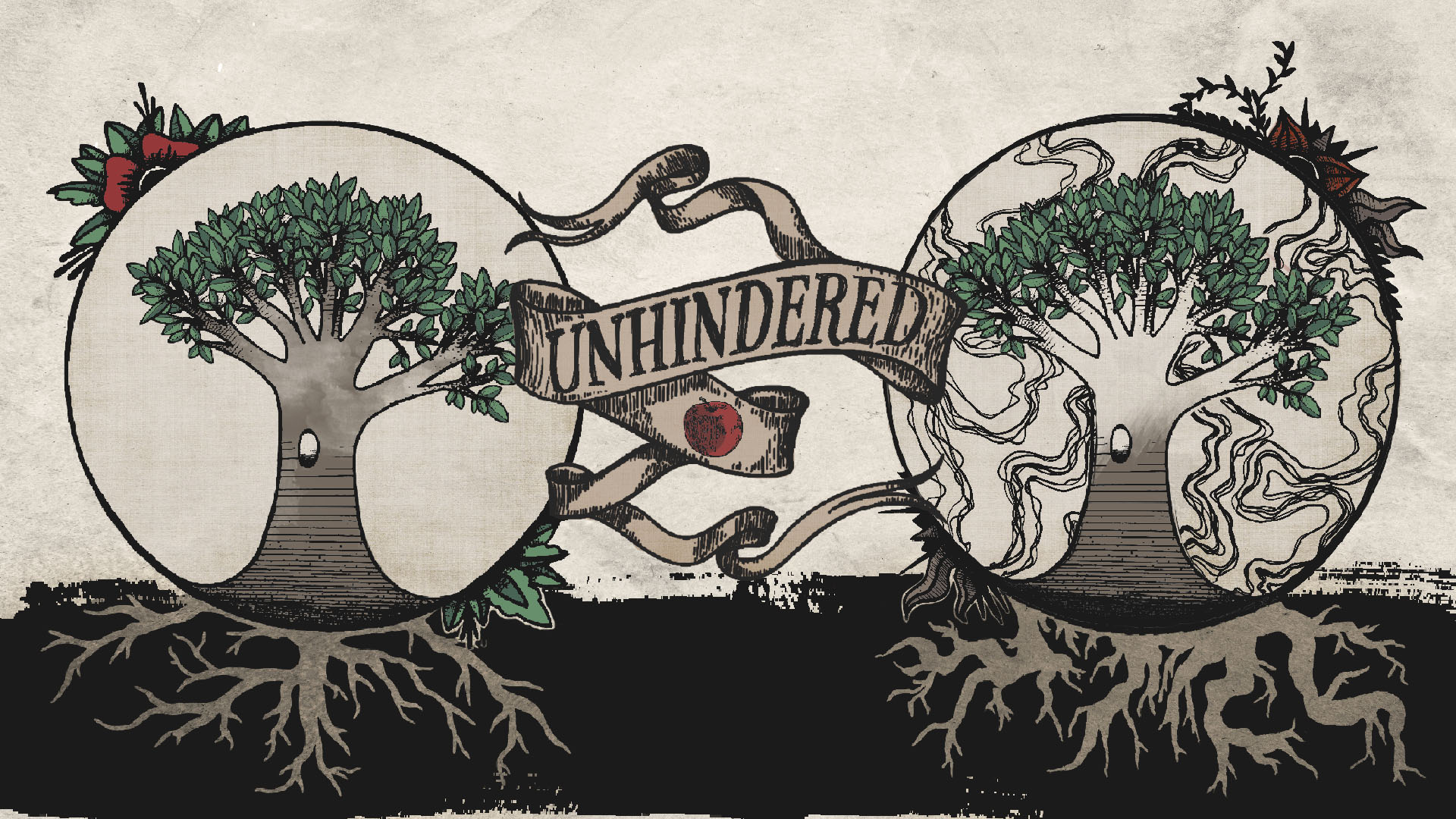 "This one deserves an honorable mention - this was for an 8 week series called ""Unhindered"" that our lead Pastor initiated. The image is meant to illustrate the 2 trees in the garden - they both look lush and inviting, but the tree of knowledge of good and evil has darkness around it and it's roots and fruit are distorted, while the tree of life is pure and produces good fruit. This was a collaboration with a fellow volunteer who's a dream to work with as well as an incredibly talented artist (and kindred spirit) - Ciara Fortun. You can find her instagram at @art.inthe.dark"